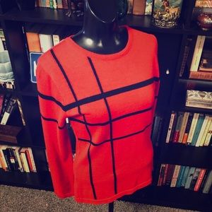 H&M Wool Blend Red & Black Sweater